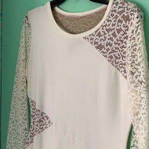White and white lace BCBG knee length dress